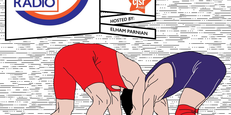 Wrestling Podium Radio - two wrestlers struggle