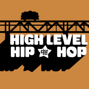a silhouette of a streetcar crossing the high level bridge, with the text high level hip hop